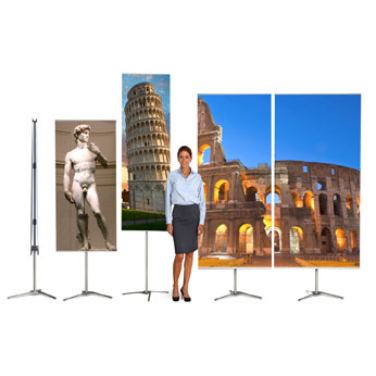 "HWPSBKIT392 - 39-3/8""x78.75""H, 2-Sided, Banner Pole System Kit (Base, bag, profiles, Graphic)"