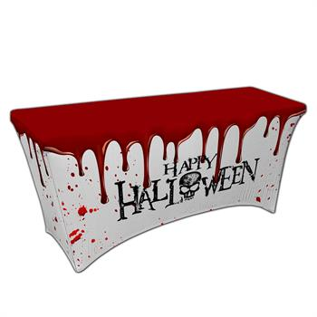 """RPCSOY6FSSH11 - Preprinted Holiday SuperStretch Cover 6' - White """"Halloween Bloody Mess"""""""
