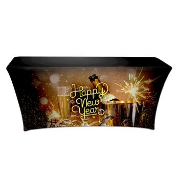 """RPCSOY6FSSH5 - Preprinted Holiday SuperStretch Cover 6' - Black """"Happy New Year"""""""