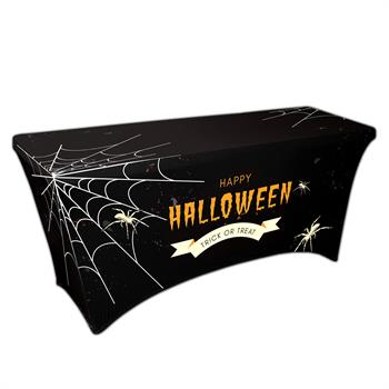 "RPCSOY6FSSH6 - Preprinted Holiday SuperStretch Cover 6' - Black ""Halloween Spider Web"""