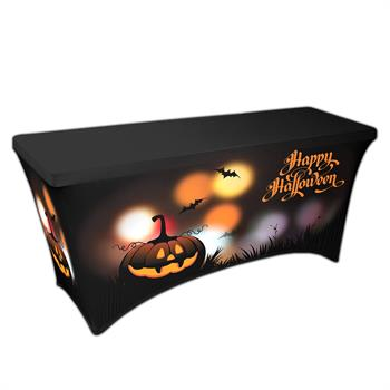 """RPCSOY6FSSH7 - Preprinted Holiday SuperStretch Cover 6' - Black """"Halloween Pumpkins"""""""