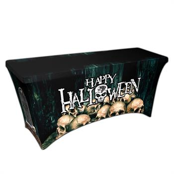 "RPCSOY6FSSH8 - Preprinted Holiday SuperStretch Cover 6' - Black ""Halloween Skulls"""