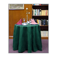 "106""D Round, Pleated, Twill Table Throw"