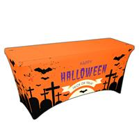 "Preprinted Holiday SuperStretch Cover 6' - Orange ""Halloween Graveyard"""