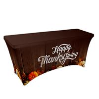 "Preprinted Holiday SuperStretch Cover 6' - Brown ""Thanksgiving"""