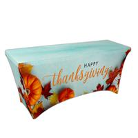 """Preprinted Holiday SuperStretch Cover 6' - Blue """"Thanksgiving"""""""