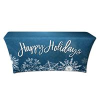 "Preprinted Holiday SuperStretch Cover 6' - Blue ""Happy Holidays"""