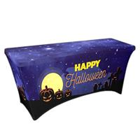 "Preprinted Holiday SuperStretch Cover 6' - Blue ""Halloween Graveyard"""